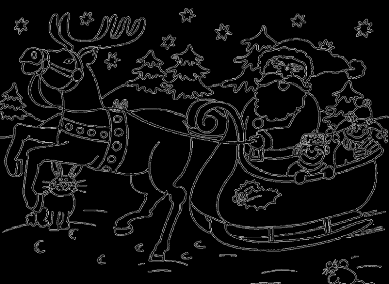 Christmas Coloring Pages Santa Sleigh – CartoonRocks