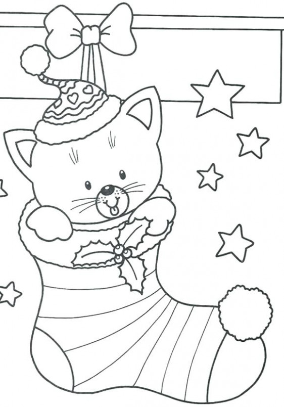 Christmas Coloring Pages Snowman Cat In Stocking Coloring Pages ..