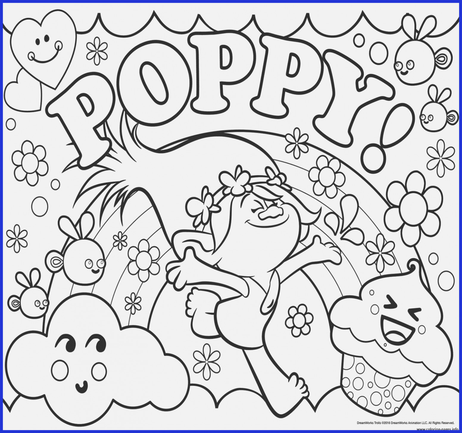 christmas coloring pages trolls with print poppy color time in 19 ..