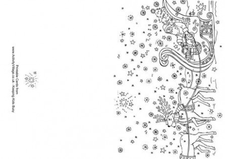 Christmas Colouring Cards - Christmas Card Colouring Pages