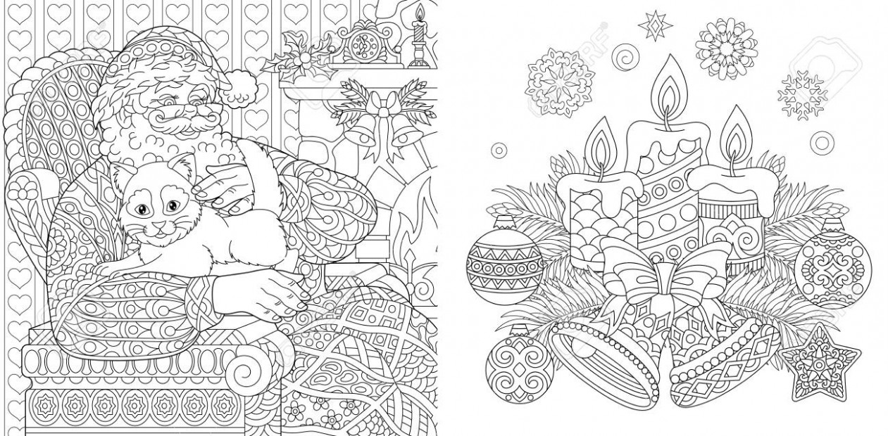 Christmas Colouring Pages. Coloring Book For Adults. Santa Claus ..