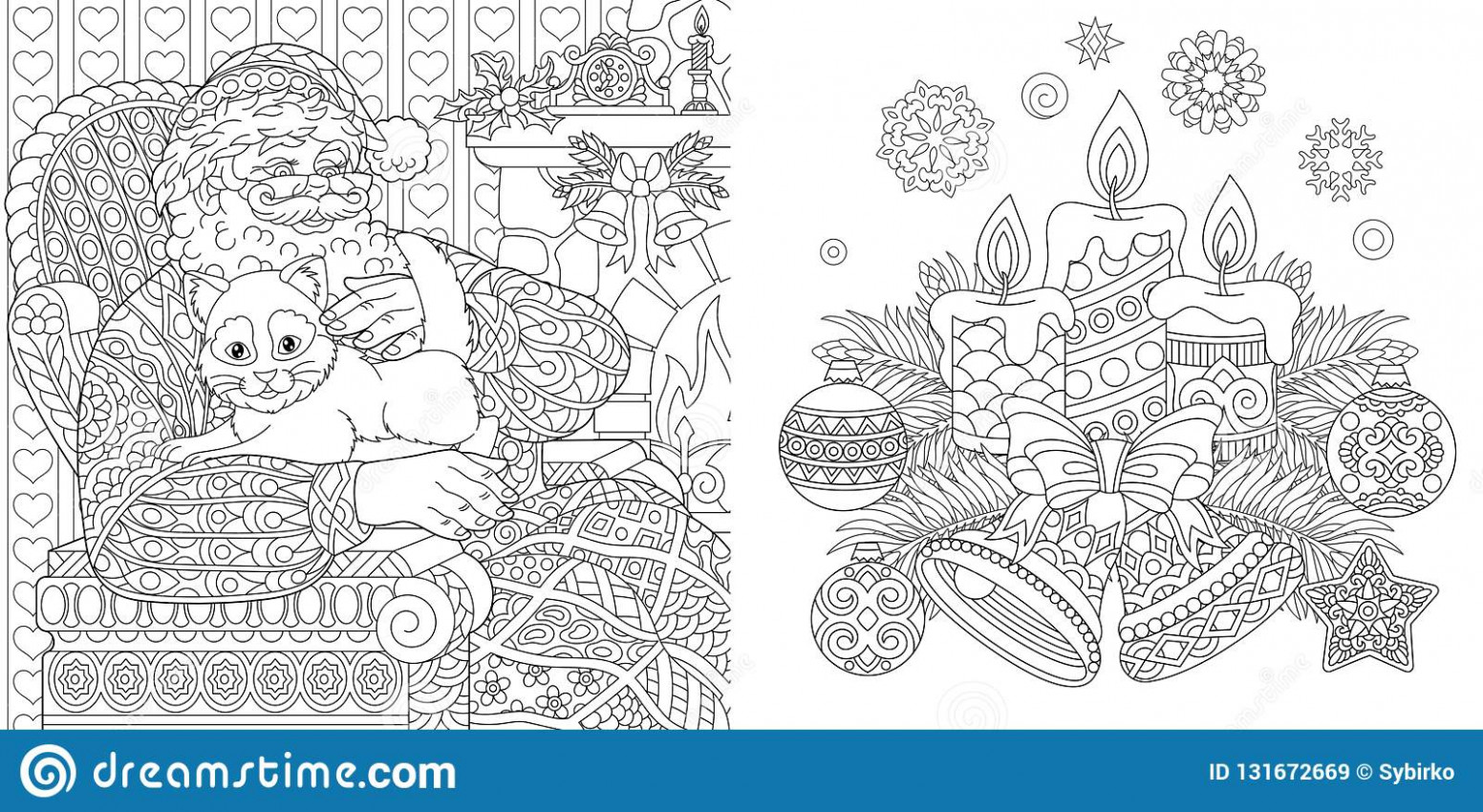 Christmas Colouring Pages. Coloring Book For Adults. Santa Claus ...
