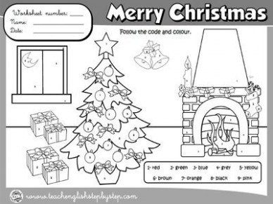 CHRISTMAS COLOURING WORKSHEET (B – Christmas Coloring Esl
