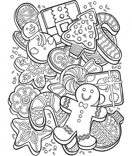 Christmas Cookie Collage Coloring Page | crayola