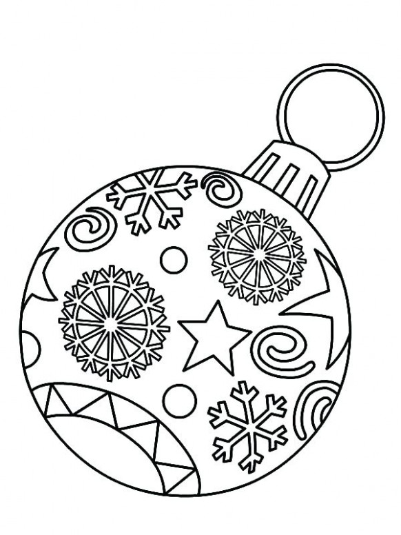 christmas decorations coloring pages decorated xmas tree coloring ...
