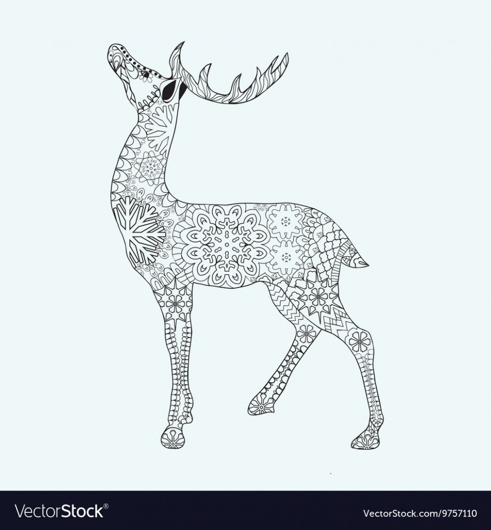 Christmas deer for adult anti stress Coloring Page – Christmas Deer Coloring Pages