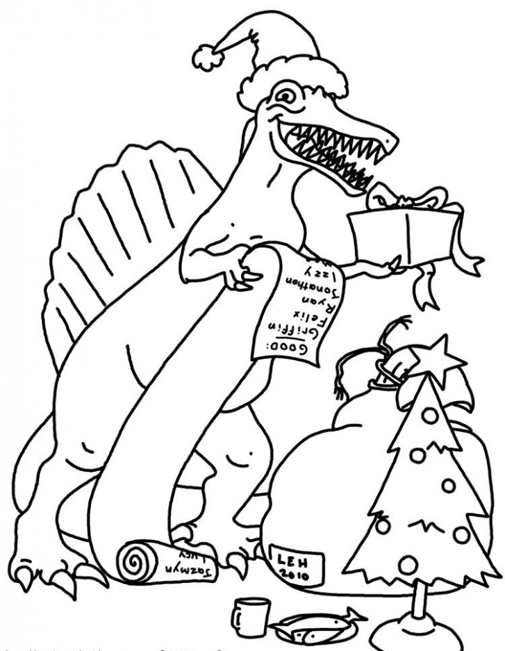 christmas dinosaur coloring pages | Coloring Pages For Kids ...