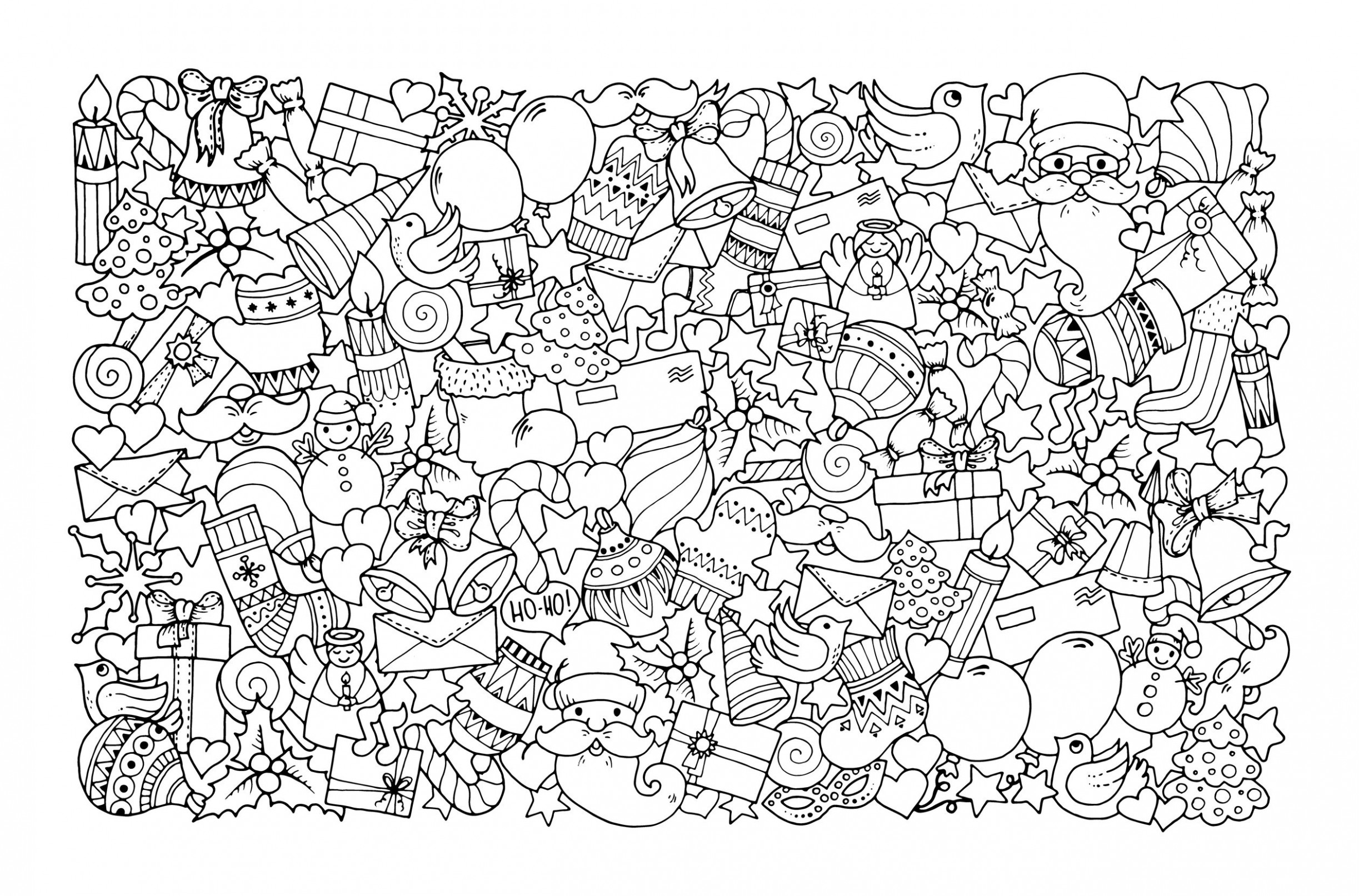 Christmas Doodle with Santa Claus - Christmas Adult Coloring Pages