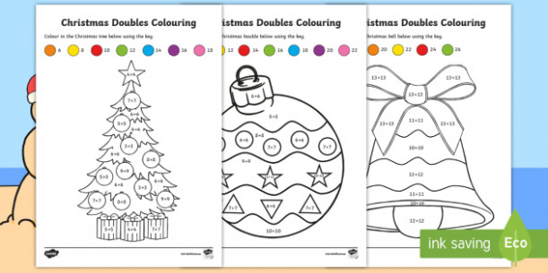 Christmas Doubles Colouring Worksheet / Worksheets – Maths ..