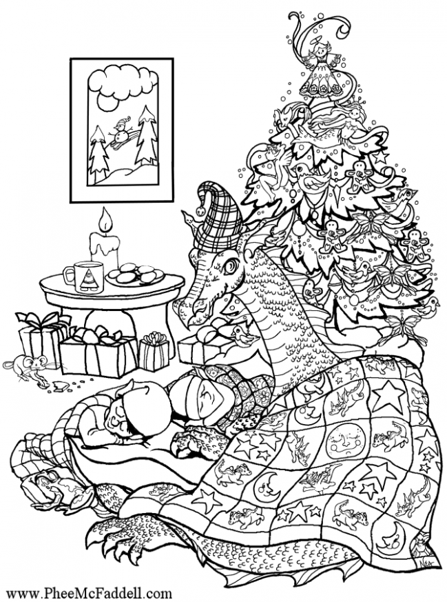 christmas dragon coloring page | Coloring pages | Dragon coloring ...