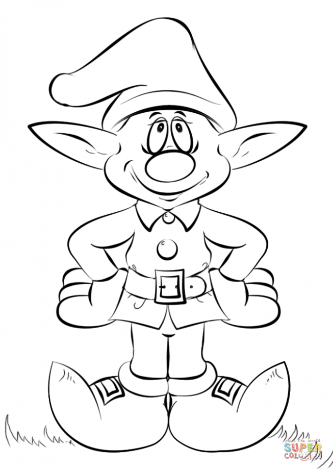 Christmas Elf coloring page | Free Printable Coloring Pages