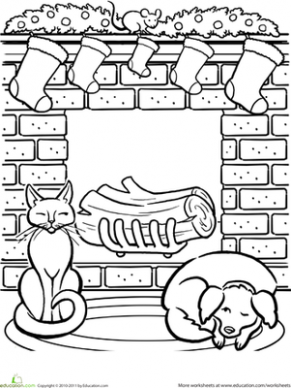 Christmas Fireplace Coloring Page | coloring pages | Christmas ..