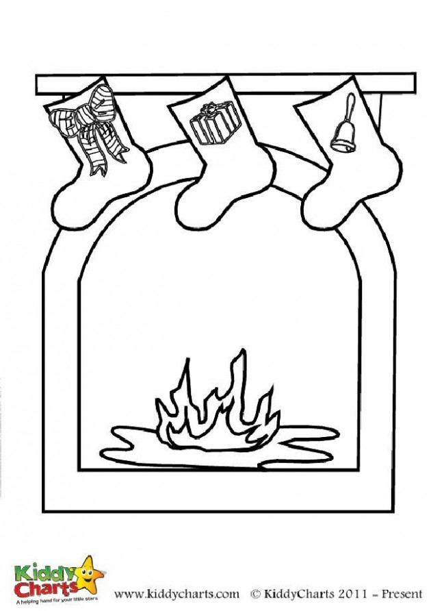 Christmas fireplace coloring page: Free to print - Christmas Fireplace Coloring Page