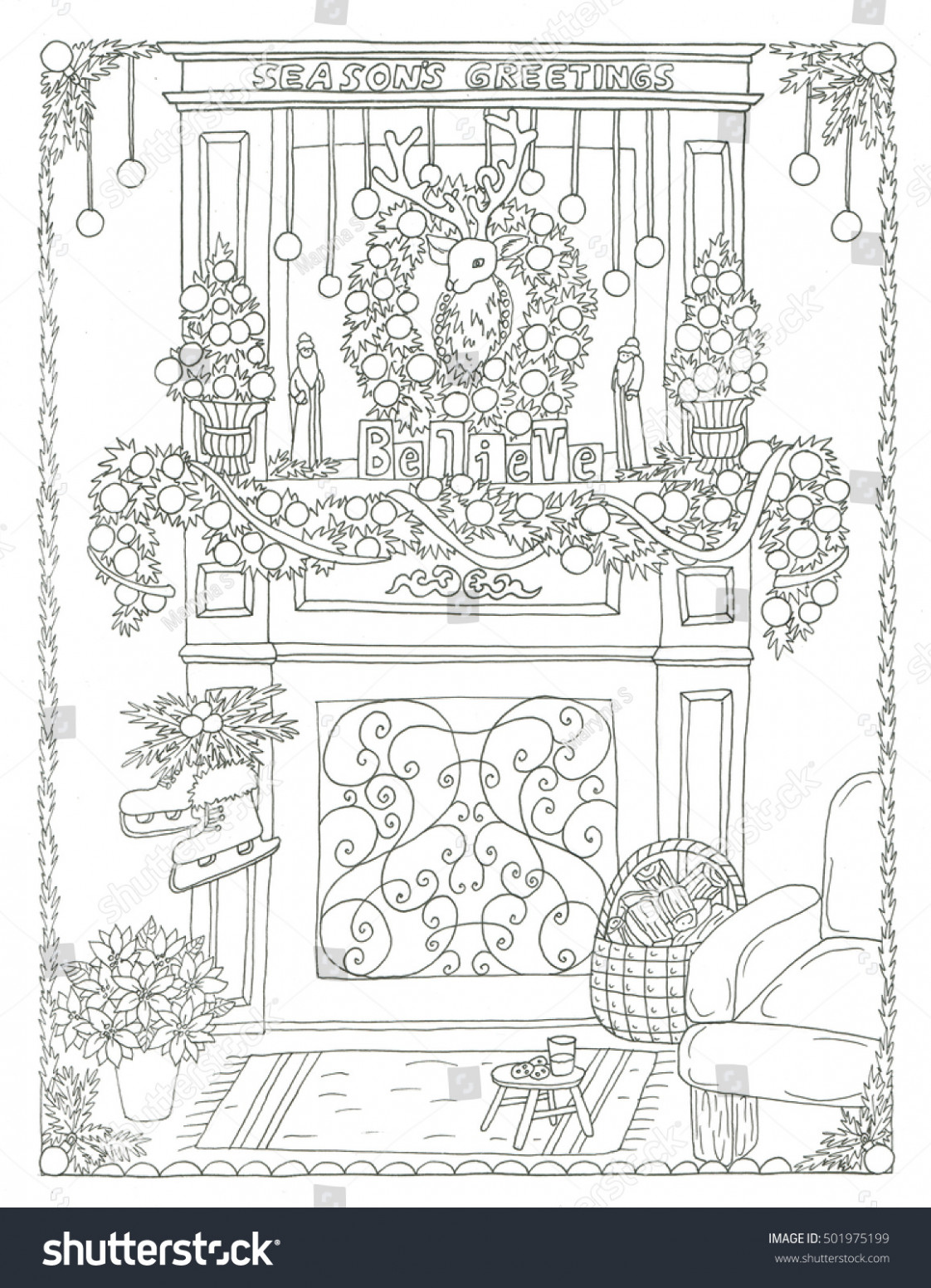 Christmas Fireplace Coloring Page Stock Illustration 14 – Christmas Fireplace Coloring Page