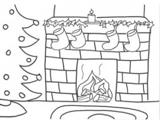 Christmas fireplace coloring pages – Coloring Pages – Christmas Fireplace Coloring Page