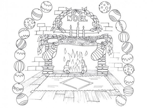 christmas fireplace coloring pages – Google Search | coloring pages ..