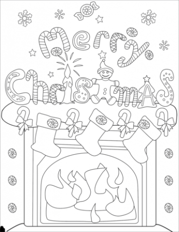 Christmas Fireplace Decorations coloring page | Free Printable ..