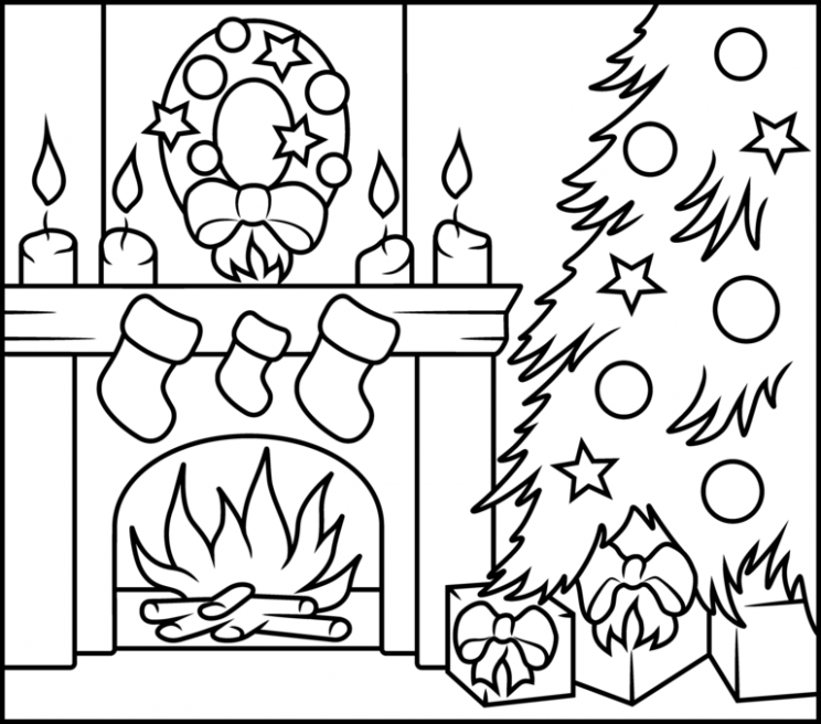 Christmas Fireplace – Printable Coloring Page | Patterns | Christmas ..