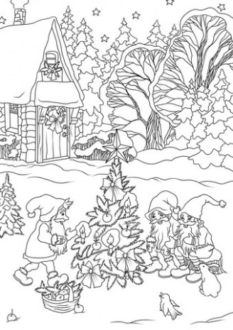 Christmas Gnomes are Decorating a Tree coloring page | Free ..