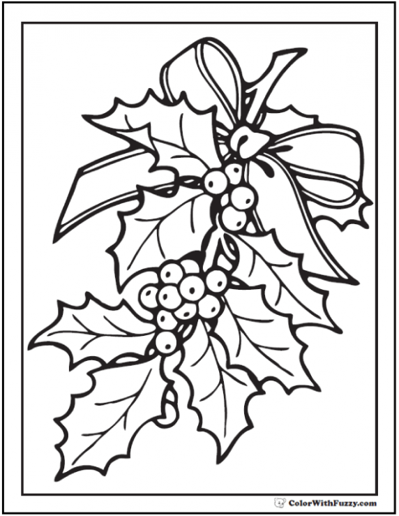 Christmas Holly Coloring Page | ⭐Holiday Coloring Pages ...