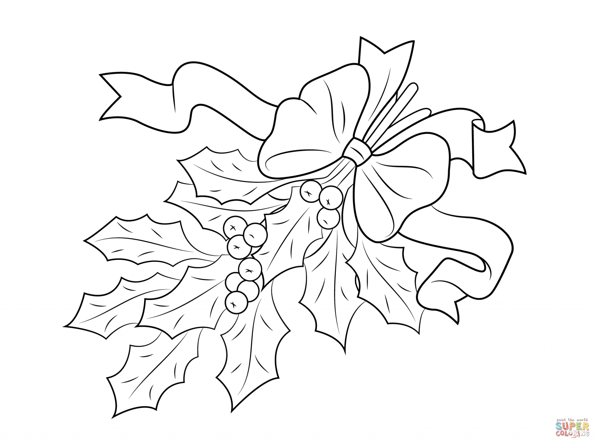 Christmas Holly With Bow Coloring Page | Free Printable Coloring ...