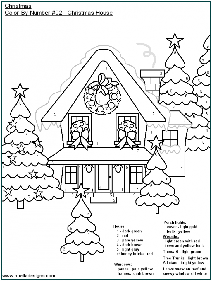 Christmas house color by number coloring page. | Holiday Kids ..