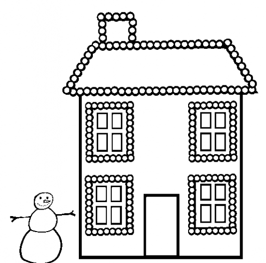 christmas-house-coloring-page | Coloring Page Book – Christmas House Coloring