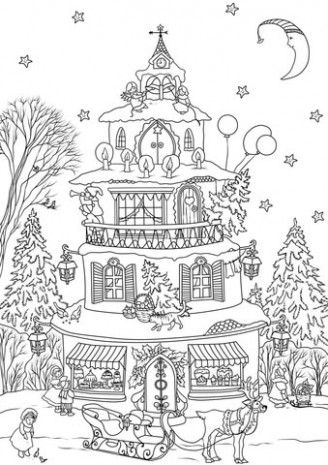 Christmas House coloring page | Free Printable Coloring Pages – Christmas House Coloring