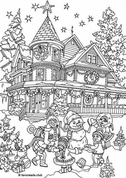 Christmas house coloring page | House Coloring Pages | Printable ..