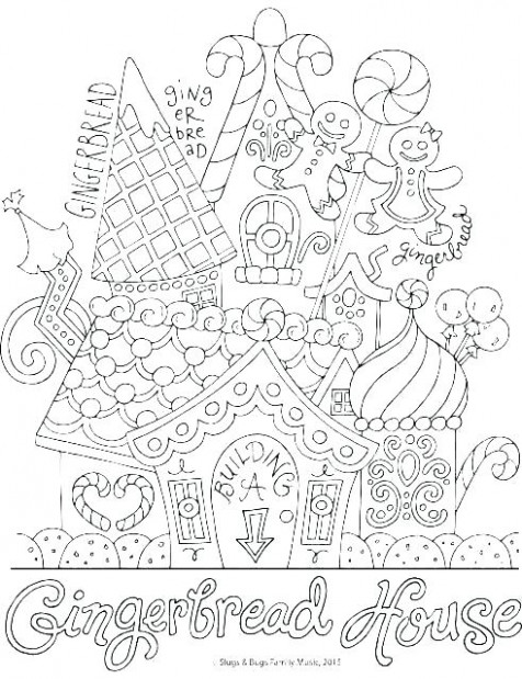 Christmas House Coloring Pages Coloring Gingerbread House Colouring ...