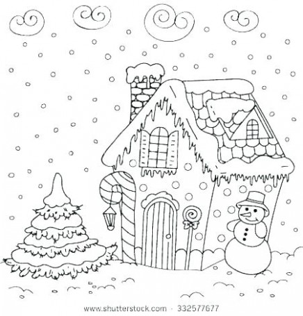 Christmas House Coloring Pages Coloring Gingerbread House Colouring ..