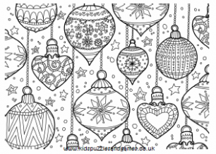 Christmas – Kids Puzzles and Games – Christmas Colouring Pages Baubles