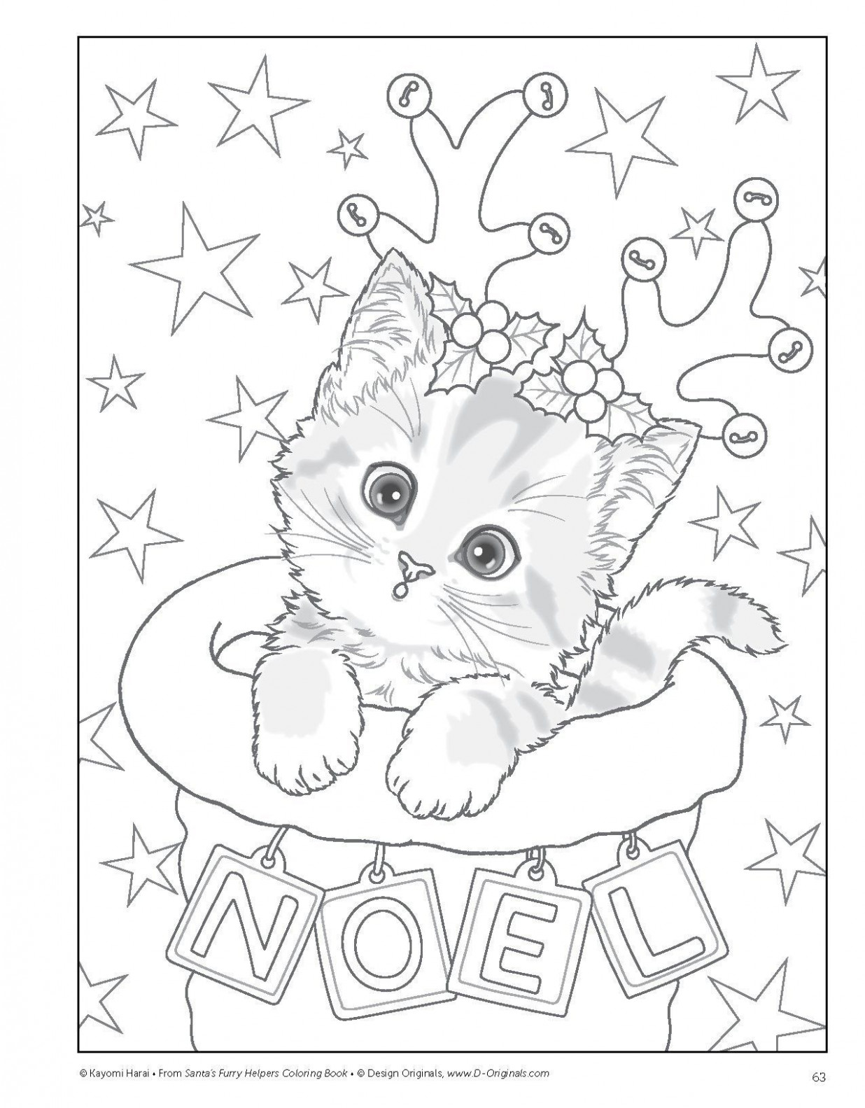 christmas kitty | Coloring Pages ~~ Adult | Coloring pages, Cat ..