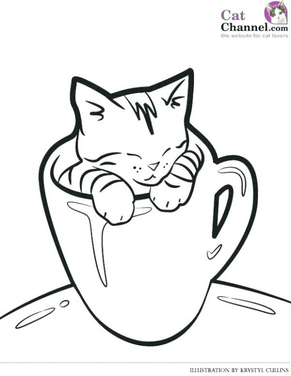 Christmas Kitty Coloring Pages Kittens Kitten In Flowers Page Cats ..