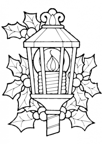 Christmas Lantern And Holly coloring page | Free Printable Coloring ..