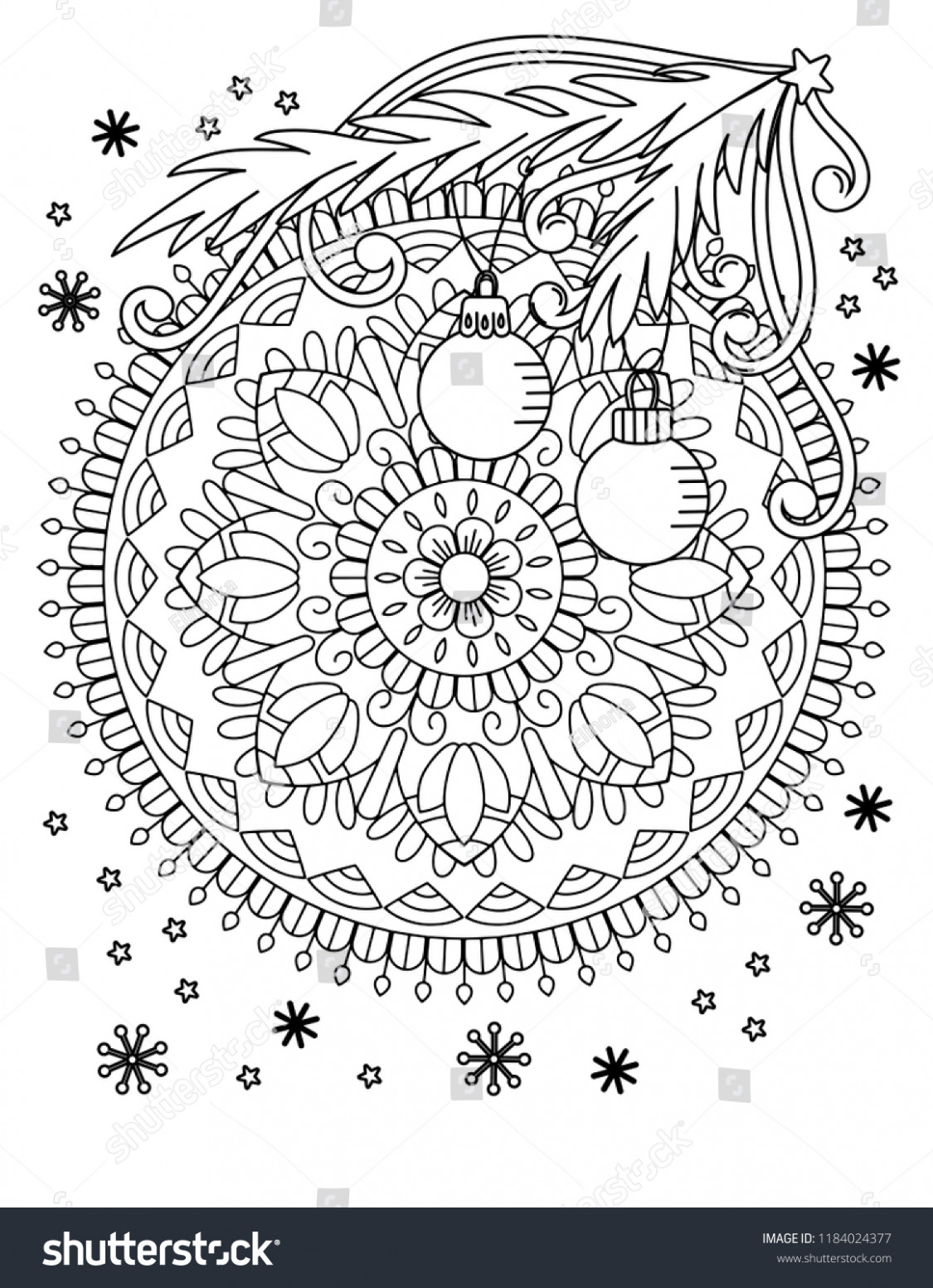 Christmas Mandala Coloring Page Adult Coloring Stock Vector (Royalty ...