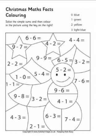 Christmas Maths Facts Colouring Page 18 … | KES YAPIŞTIR | Chris… – Christmas Coloring Pages For Grade 1