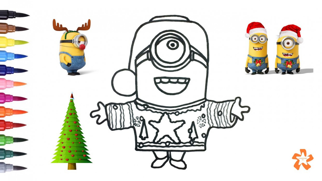 Christmas Minion - How to color Christmas Minion - Coloring Pages ...