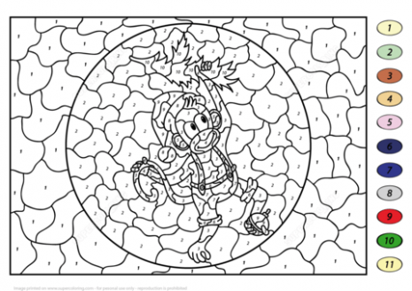 Christmas Monkey Color by Number   Free Printable Coloring Pages – Christmas Coloring Pages By Number