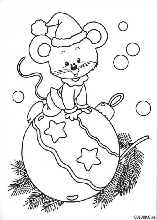 Christmas mouse on ornament (tree, hat, coloring, outline, black and ...