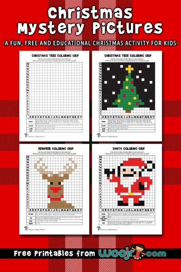 Christmas Mystery Pictures Grid Coloring Pages | Christmas ..