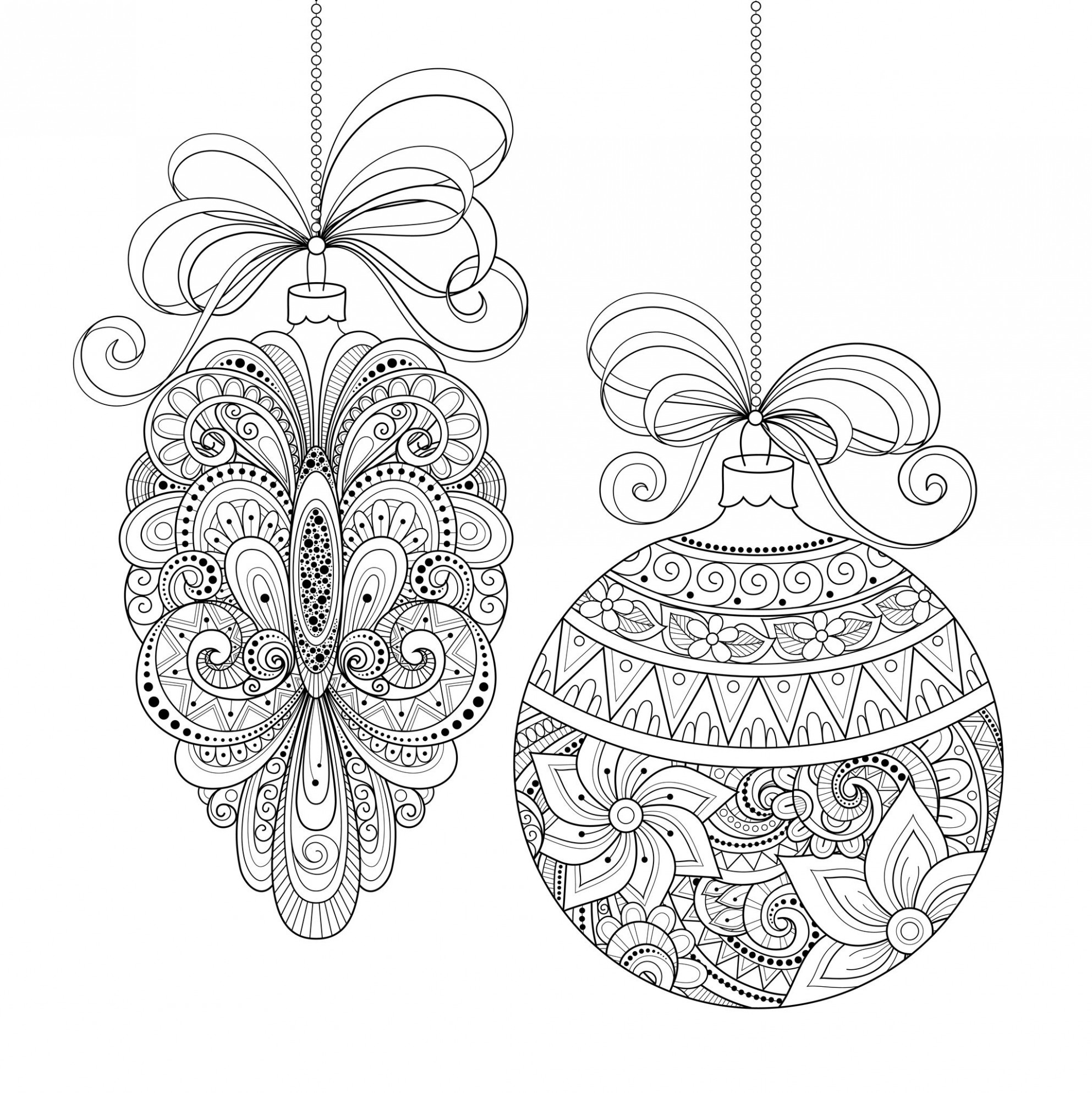 Christmas ornaments – Christmas Adult Coloring Pages – Christmas Coloring Greeting Cards