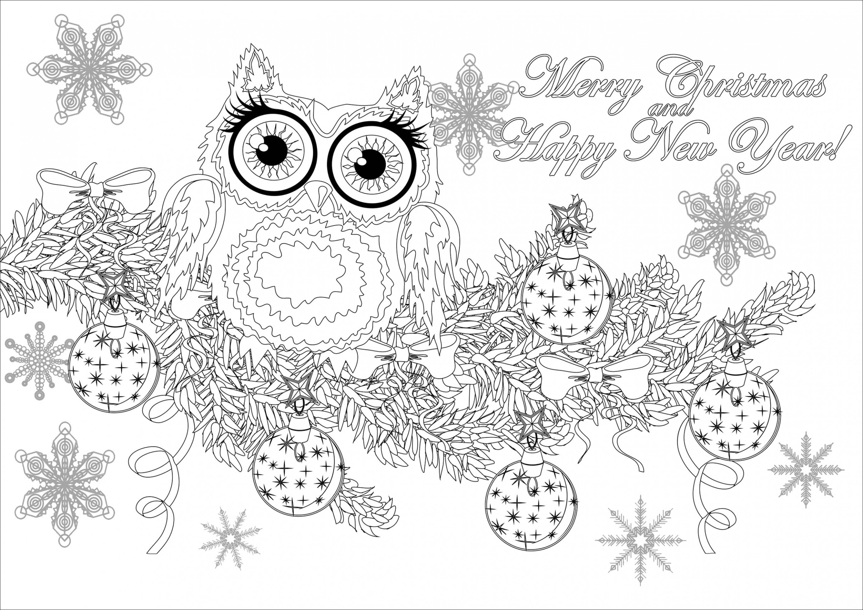 Christmas owl on a branch with text – Christmas Adult Coloring Pages – Christmas Coloring Pages Owls