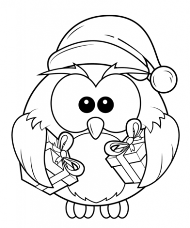Christmas Owl with Gift Boxes coloring page | Free Printable ..