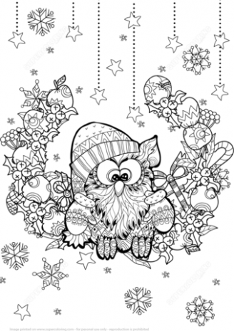 Christmas Owl Zentangle coloring page | Free Printable Coloring Pages – Christmas Zentangle Coloring