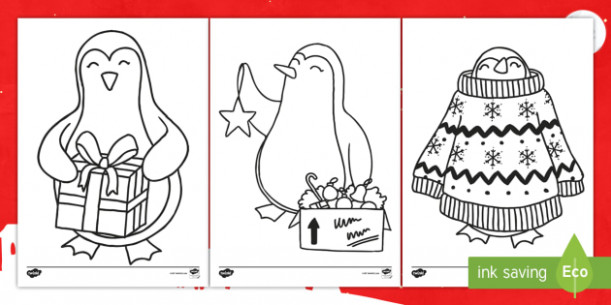 Christmas Penguin Colouring Pages – KS20, Key Stage One, Animal, Festive – Christmas Coloring Pages Twinkl