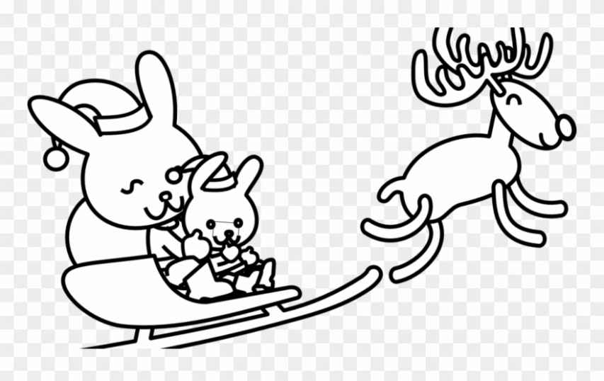 Christmas Rabbit Coloring Pages With Free Line Art - Christmas Bunny ...