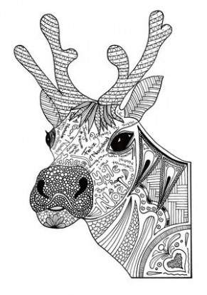 Christmas Reindeer Adult Coloring Page | FaveCrafts