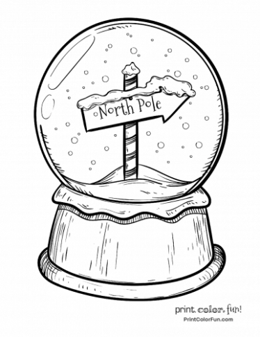 Christmas snow globe with North Pole sign coloring page – Print ..