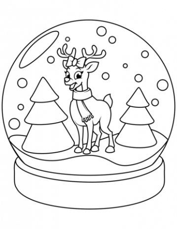 Christmas Snow Globe with Reindeer coloring page | Free Printable ..